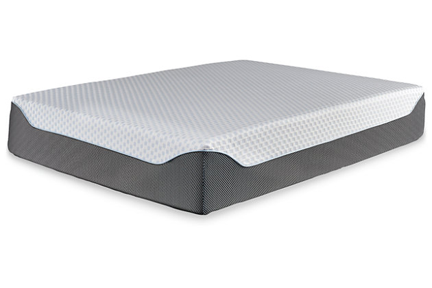 14 Inch Chime Elite Queen Memory Foam Mattress in a Box, White/Blue, large