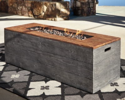 Hatchlands Fire Pit Table by Ashley HomeStore, Brown/Gray