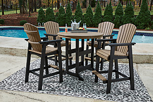 Fairen Trail Outdoor Bar Table and 4 Barstools, , rollover