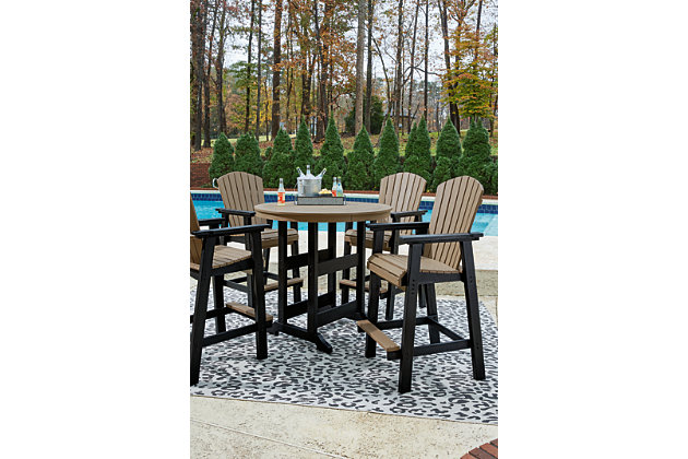 Fairen Trail Outdoor Bar Table and 4 Barstools, , large
