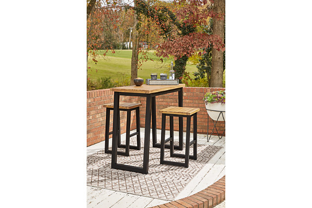 Town Wood Outdoor Counter Table Set (Set of 3), , large
