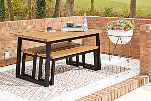 Town Wood Outdoor Dining Table Set (Set of 3), , large