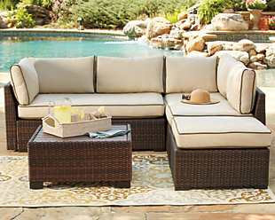 Outdoor Patio Furniture Large Loughran 4 Piece Sectional Set Rollover