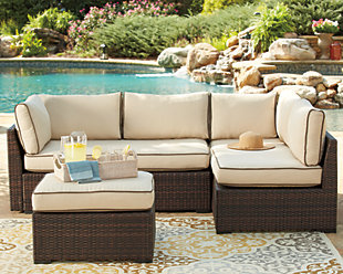 Loughran 4 Piece Outdoor Sectional Set Ashley Furniture Homestore