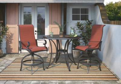 Image of Apple Town 3-Piece Outdoor Bar Table Set, Burnt Orange