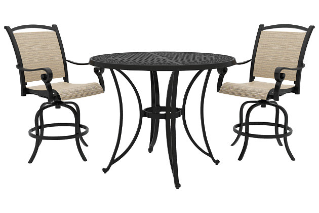 Bass Lake 3-Piece Outdoor Bar Table Set, , large