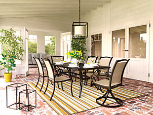 Burnella 7-Piece Outdoor Rectangular Dining Set, , rollover