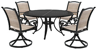 Burnella 5-Piece Outdoor Round Dining Set, , rollover