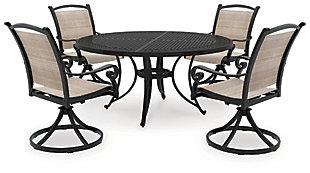 Burnella 5-Piece Outdoor Round Dining Set, , large