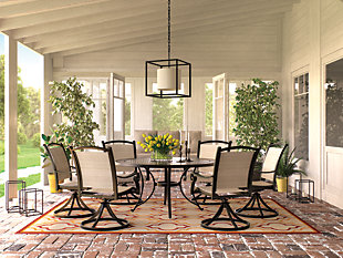 Burnella 7-Piece Outdoor Round Dining Set, , rollover