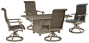Windon Barn Outdoor Fire Pit Table and 4 Chairs, , large