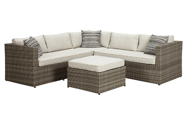 Beige/Brown Peckham Park 4 Piece Outdoor Sectional Set View 2