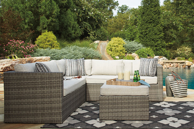 Peckham Park Outdoor Corner Chair and Ottoman, , large