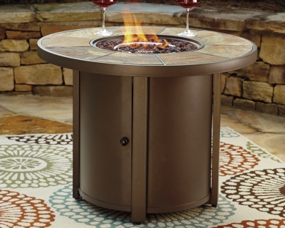 Predmore Fire Pit Table by Ashley HomeStore, Beige/Brown