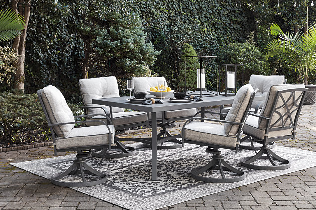 Donnalee Bay Outdoor Dining Table And 6, Ashley Furniture Outdoor Dining Chairs