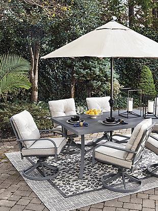 Donnalee Bay Dining Table with Umbrella Option, , large