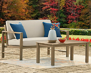Fynnegan Outdoor Loveseat with Table (Set of 2), , rollover