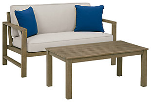 Fynnegan Outdoor Loveseat with Table (Set of 2), , large