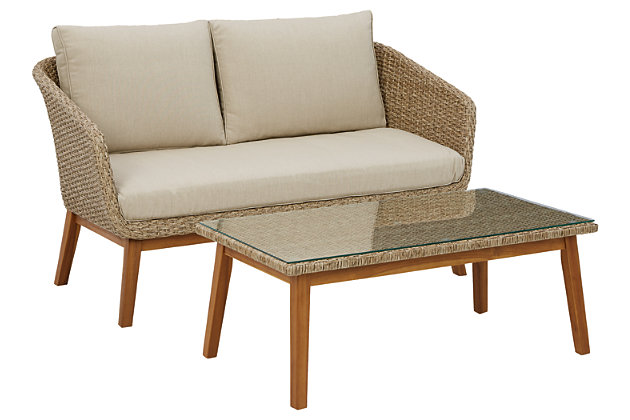 Crystal Cave Outdoor Loveseat with Table (Set of 2), , large