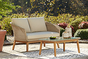 Crystal Cave Outdoor Loveseat with Table (Set of 2), , rollover