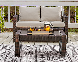 East Brook Outdoor Loveseat with Table (Set of 2), , rollover
