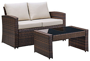 East Brook Outdoor Loveseat with Table (Set of 2), , large