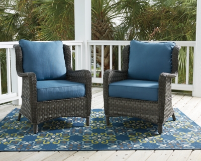 Image of Abbots Court Lounge Chair (Set of 2), Blue/Gray