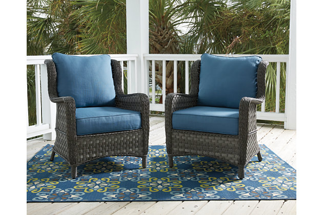 Abbots Court Lounge Chair w/Cushion (Set of 2) by Ashley HomeStore, Blue & Gray