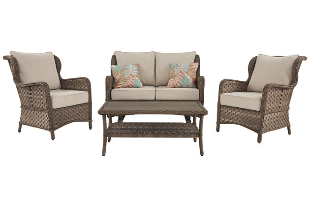 Clear Ridge Outdoor Loveseat and 2 Chairs with Coffee Table, , large