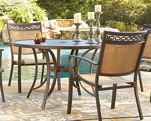 Carmadelia Round Dining Table with Umbrella Option, , rollover