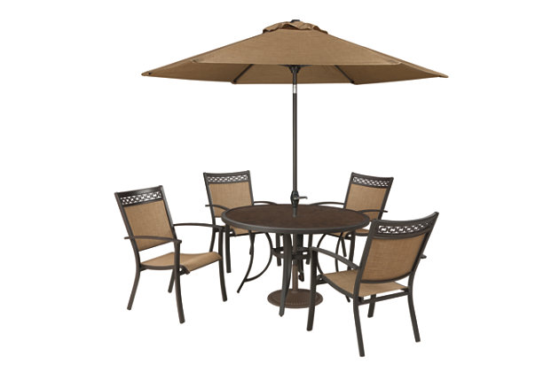 Carmadelia 7-Piece Outdoor Round Dining Set with Umbrella, , large
