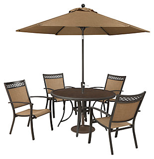 Carmadelia Piece Outdoor Dining Set With Umbrella Ashley - 7 piece outdoor dining set round table