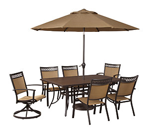 Carmadelia 9-Piece Outdoor Rectangular Dining Set with Umbrella, , large
