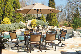 Carmadelia 9-Piece Outdoor Rectangular Dining Set with Umbrella, , rollover