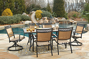 Carmadelia 7-Piece Outdoor Rectangular Dining Set, , rollover
