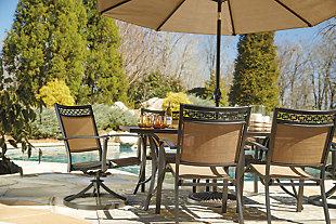 Carmadelia 9-Piece Outdoor Rectangular Dining Set with Umbrella, , large