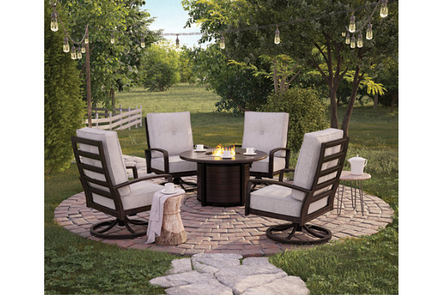 Castle Island Outdoor Fire Pit Table and 4 Chairs, , large