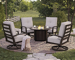 Castle Island Outdoor Fire Pit Table and 4 Chairs, , rollover