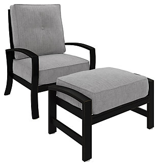Castle Island Outdoor Lounge Chair with Ottoman, , large