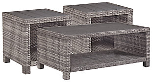Salem Beach Outdoor Coffee Table with 2 End Tables, , large