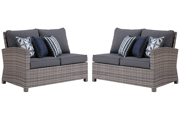 Salem Beach 3-Piece Outdoor Sectional with Chair, Coffee Table and End Table, , large