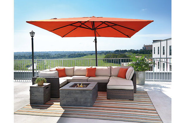 Outdoor Umbrella With Lights Oakengrove patio umbrella ashley furniture homestore oakengrove patio umbrella large workwithnaturefo