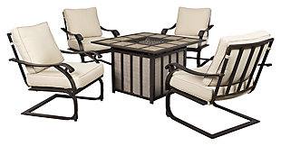 Wandon 5-Piece Outdoor Chat Fire Pit Set, , large