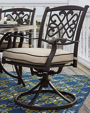 Burnella Swivel Chair with Cushion (Set of 2), , large