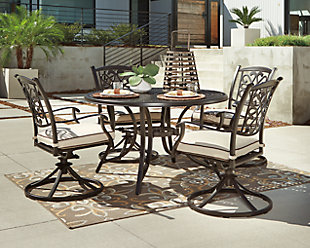 Burnella Round Dining Table with Umbrella Option, , rollover