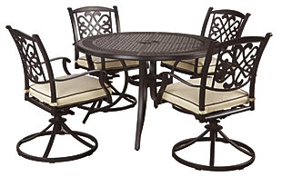 Burnella 5-Piece Outdoor Round Dining Set, , large