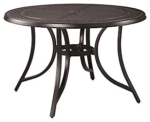 Burnella Round Dining Table with Umbrella Option, , large