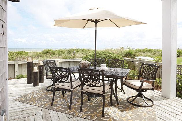 Burnella Dining Table with Umbrella Option, , large
