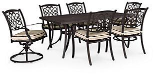 Burnella 7-Piece Outdoor Rectangular Dining Set, , large