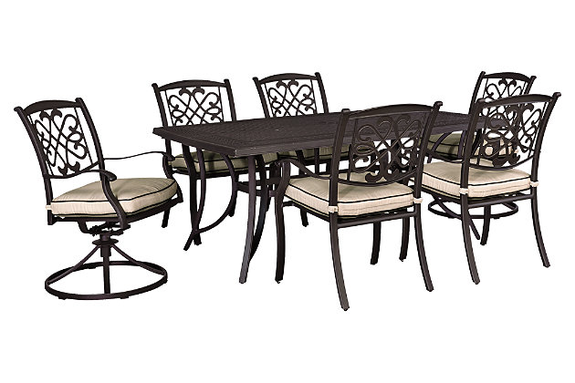 Burnella 7-Piece Outdoor Rectangular Dining Set, , large
